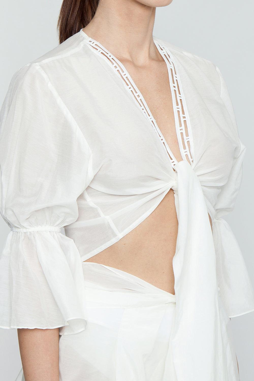 AGUA DE COCO Orla Cotton Front Tie Blouse - Off White Top | Off White| Agua De Coco Orla Cotton Front Tie Blouse - Off White Crop Blouse with Ruffle details V neckline Front tie detail  Flowy Flounce sleeves
