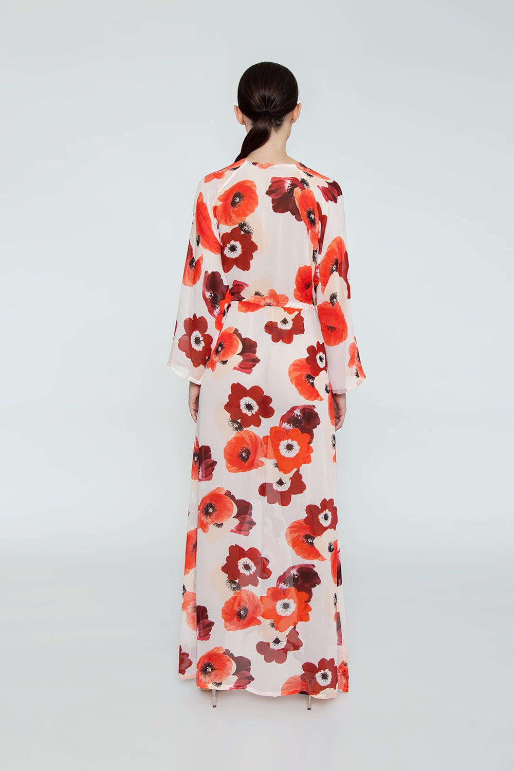 EVARAE Gela Open Kimono - Red Poppy Print Dress | Red Poppy Print| Evarae Gela Open Kimono - Red Poppy Print. Features:  100% Silk Georgette Slightly sheer Can be worn open or pulled in by adjustable cords at the waist Back View