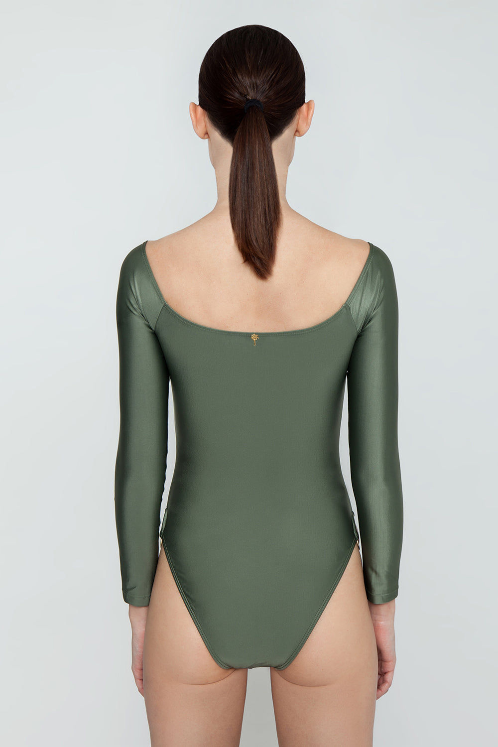 AGUA DE COCO Brazilian Off Shoulder Side Detail One Piece Swimsuit - Olive Green One Piece | Olive Green| Agua De Coco Brazilian Off Shoulder Side Detail One Piece Swimsuit - Olive GreenOlive green one piece Off shoulder  Long sleeves  Side ring hardware detail  Cheeky - moderate coverage Back View