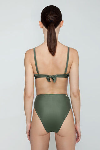 AGUA DE COCO Underwire Fixed Bikini Top - Olive Green Bikini Top | Olive Green| Agua De Coco Underwire Fixed Bikini Top - Olive Green Olive green bikini top Underwire detail Adjustable shoulder straps  Back tie closure Back View