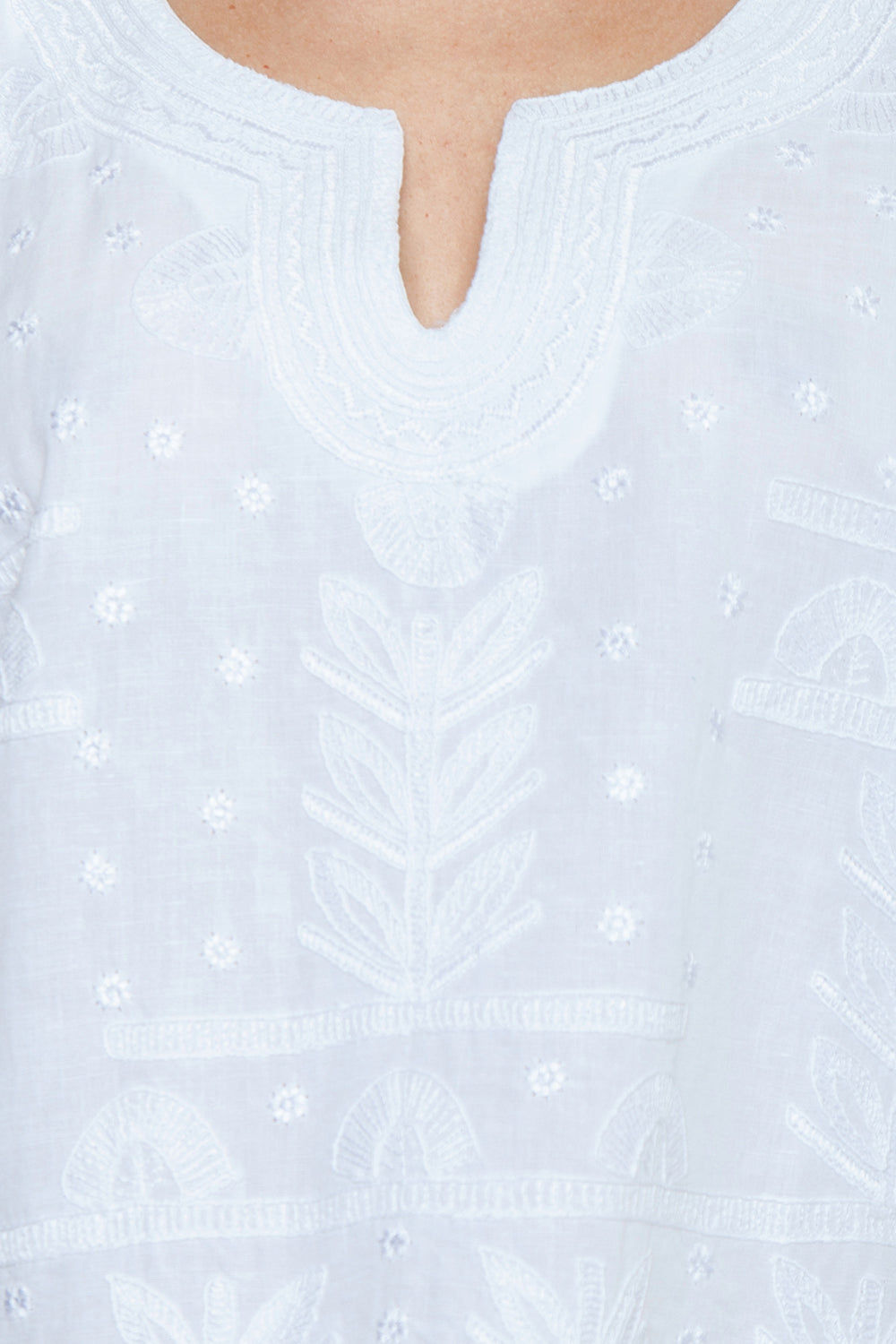 AMITA NAITHANI Riviera Embroidered Tunic - White Cover Up | White| Amita Naithani Riviera Embroidered Tunic - White Features:  White tunic V neckline Short sleeves Embroidered detail Detail View