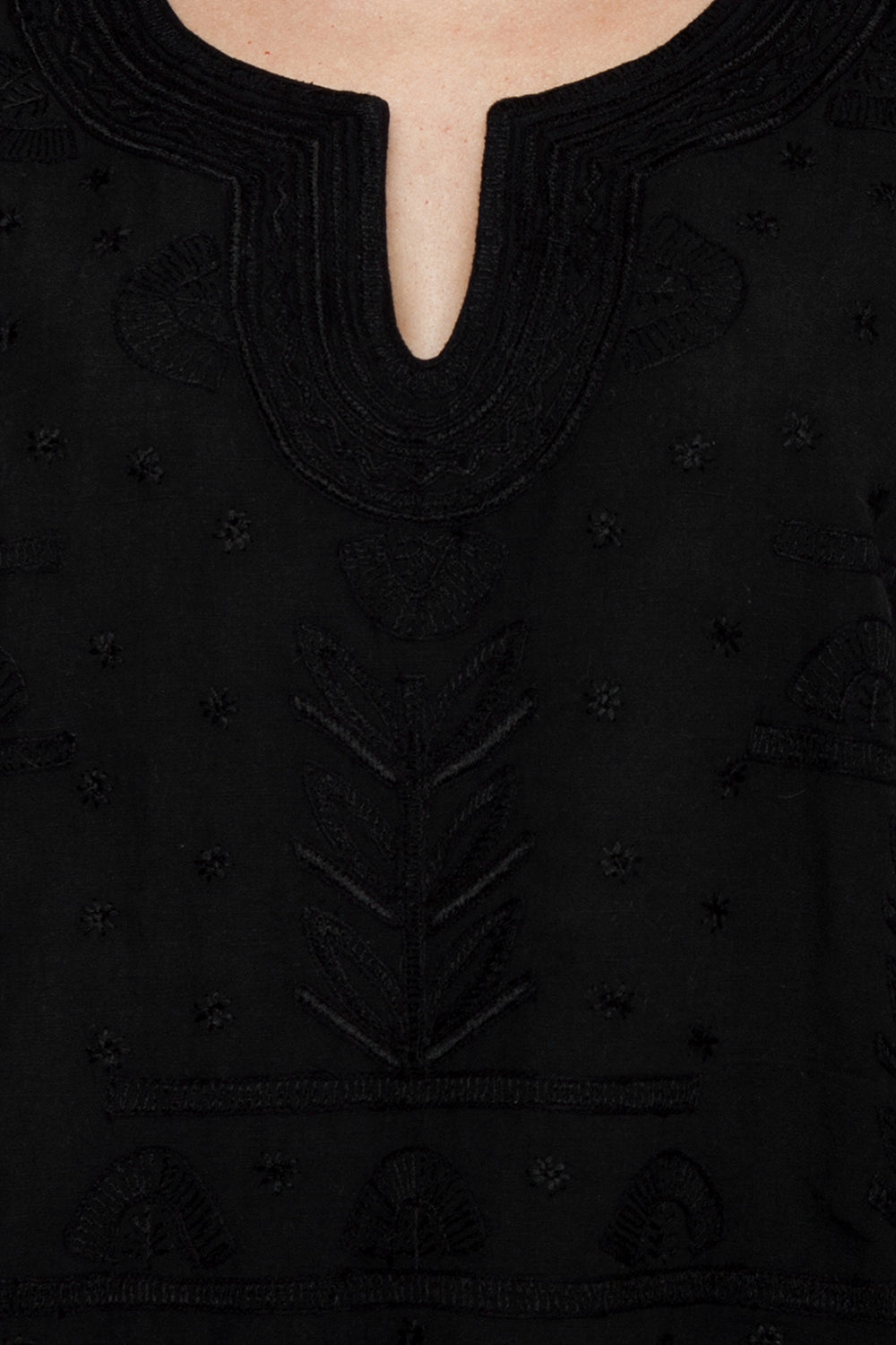 AMITA NAITHANI Riviera Embroidered Tunic - Black Cover Up | Black| Amita Naithani Riviera Embroidered Tunic - Black Black tunic V neckline Short sleeves Embroidered detail Detail View