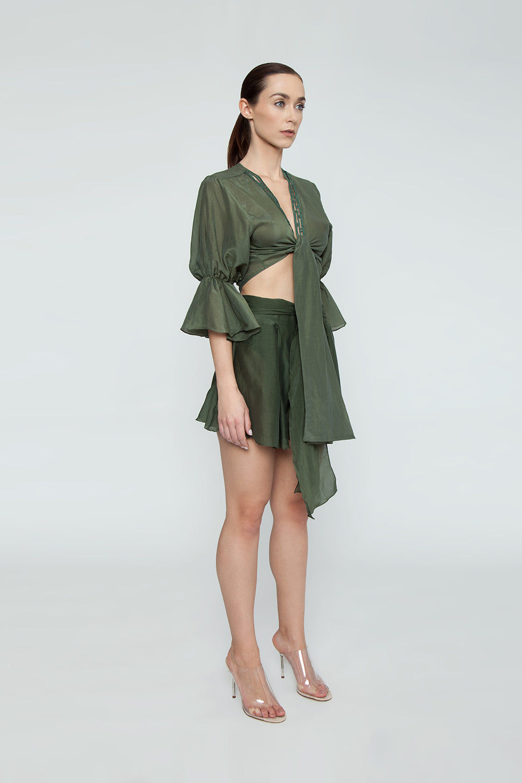 AGUA DE COCO Orla Linen High Waist Shorts - Olive Green Shorts | Olive Green| Agua De Coco Orla Cotton High Waist Shorts - Green