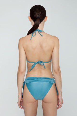 AGUA DE COCO Padded Halter Bikini Top - Teal Blue Bikini Top | Teal Blue| Agua De Coco Padded Halter Bikini Top - Teal Blue Teal blue bikini top Triangle Halter neck tie Back tie closure Padding Back View