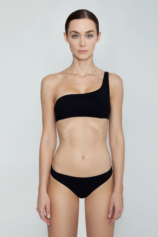 STELLA MCCARTNEY One Shoulder Bikini Top - Black Bikini Top | Black| Stella McCartney One Shoulder Bikini Top - Black One shoulder strap  Darted seams Front View