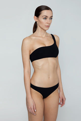 STELLA MCCARTNEY One Shoulder Bikini Top - Black Bikini Top | Black| Stella McCartney One Shoulder Bikini Top - Black One shoulder strap  Darted seams Side View
