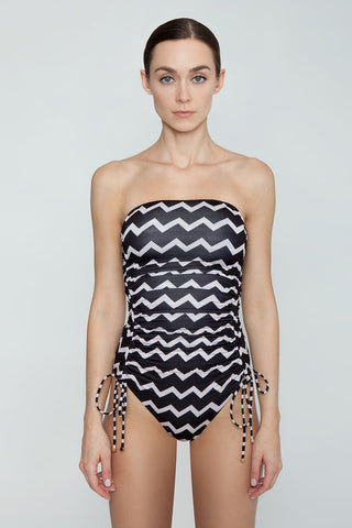 STELLA MCCARTNEY Strapless One Piece Swimsuit - Black/Cream Chevron Print One Piece | Black/Cream Chevron Print| Stella McCartney Strapless One Piece Swimsuit - Black/Cream Chevron Print Features:   Strapless one piece  Drawstring side scrunch ties  Back clasp closure Full coverage  Front View