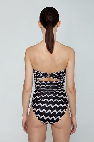STELLA MCCARTNEY Strapless One Piece Swimsuit - Black/Cream Chevron Print One Piece | Black/Cream Chevron Print| Stella McCartney Strapless One Piece Swimsuit - Black/Cream Chevron Print Features:   Strapless one piece  Drawstring side scrunch ties  Back clasp closure Full coverage  Back View