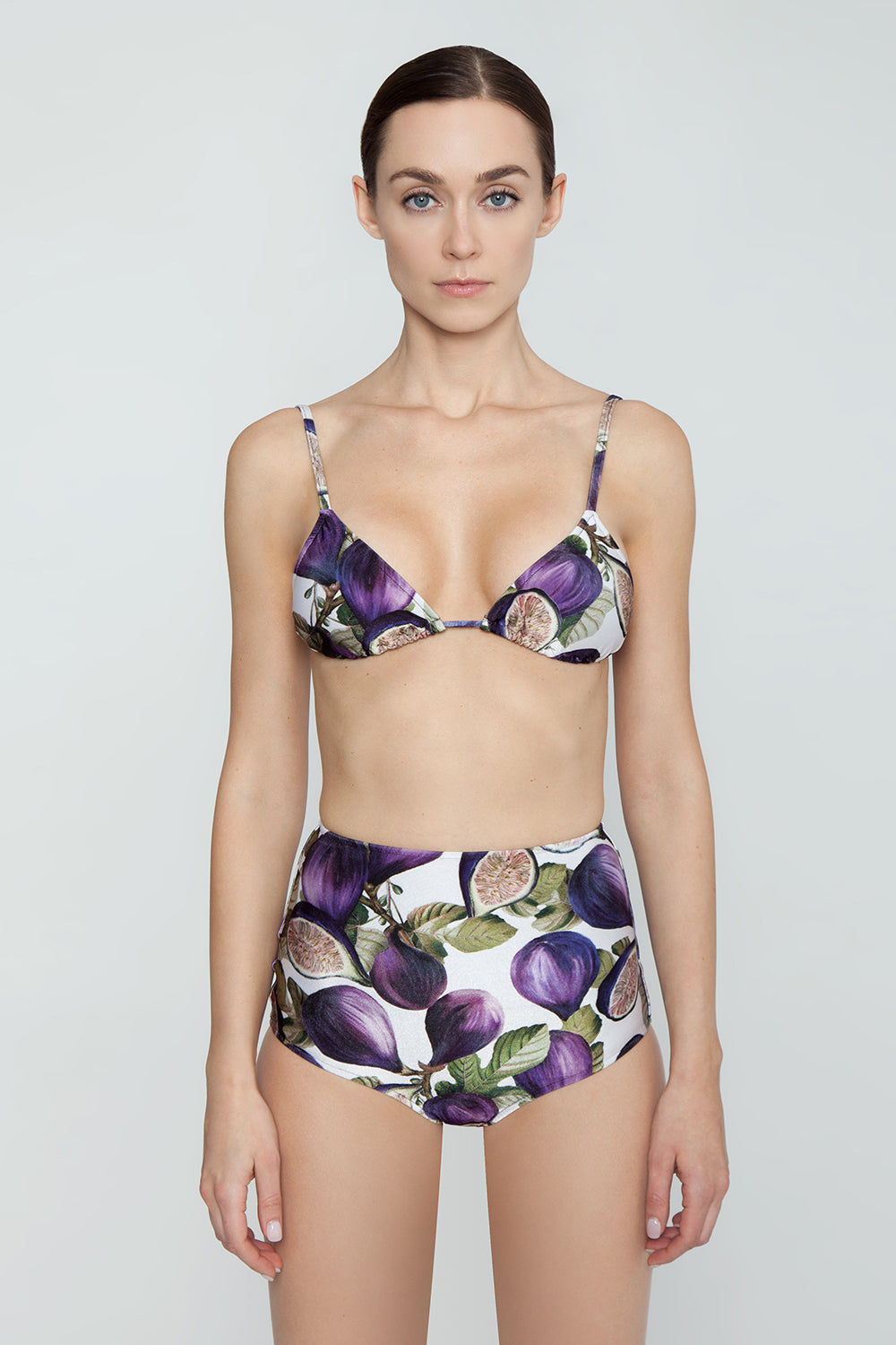 ADRIANA DEGREAS Pull-Over Triangle Bikini Top - Fig Purple Print Bikini Top | Fig Purple Print| Adriana Degreas Triangle Tie Bikini Top - Fig Purple Print. Features:  Classic Triangle top Adjustable halter neck ties Back ties closure Main: 85% polyamide, 15% spandex Front View