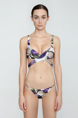 ADRIANA DEGREAS Thin Strap Bikini Bottom - Fig Purple Print Bikini Bottom | Fig Purple Print| Adriana Degreas String Bikini Bottom - Fig Purple Print String thin straps Low rise Cheeky coverage Front View