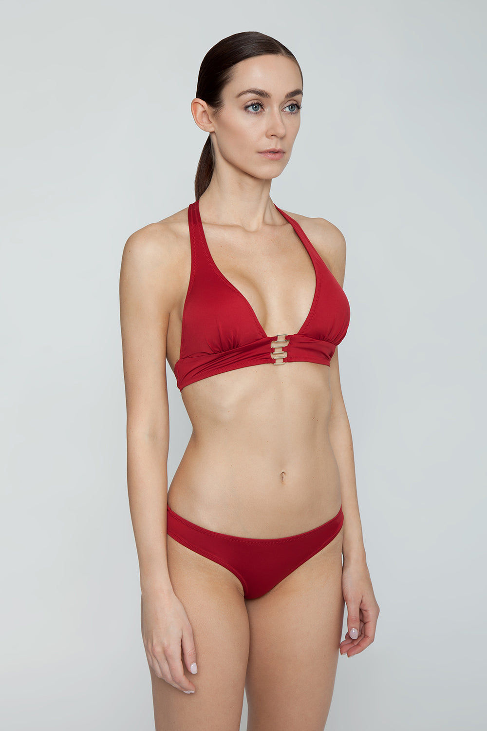 EVARAE Selene Rectangle Plunge Bikini Top - Red Shine Bikini Top | Red Shine| EVERAE Selene Rectangle Plunge Bikini Top - Red Shine Plunging neckline Rectangular hardware detail  Halter neck tie  Thick bra band Side View