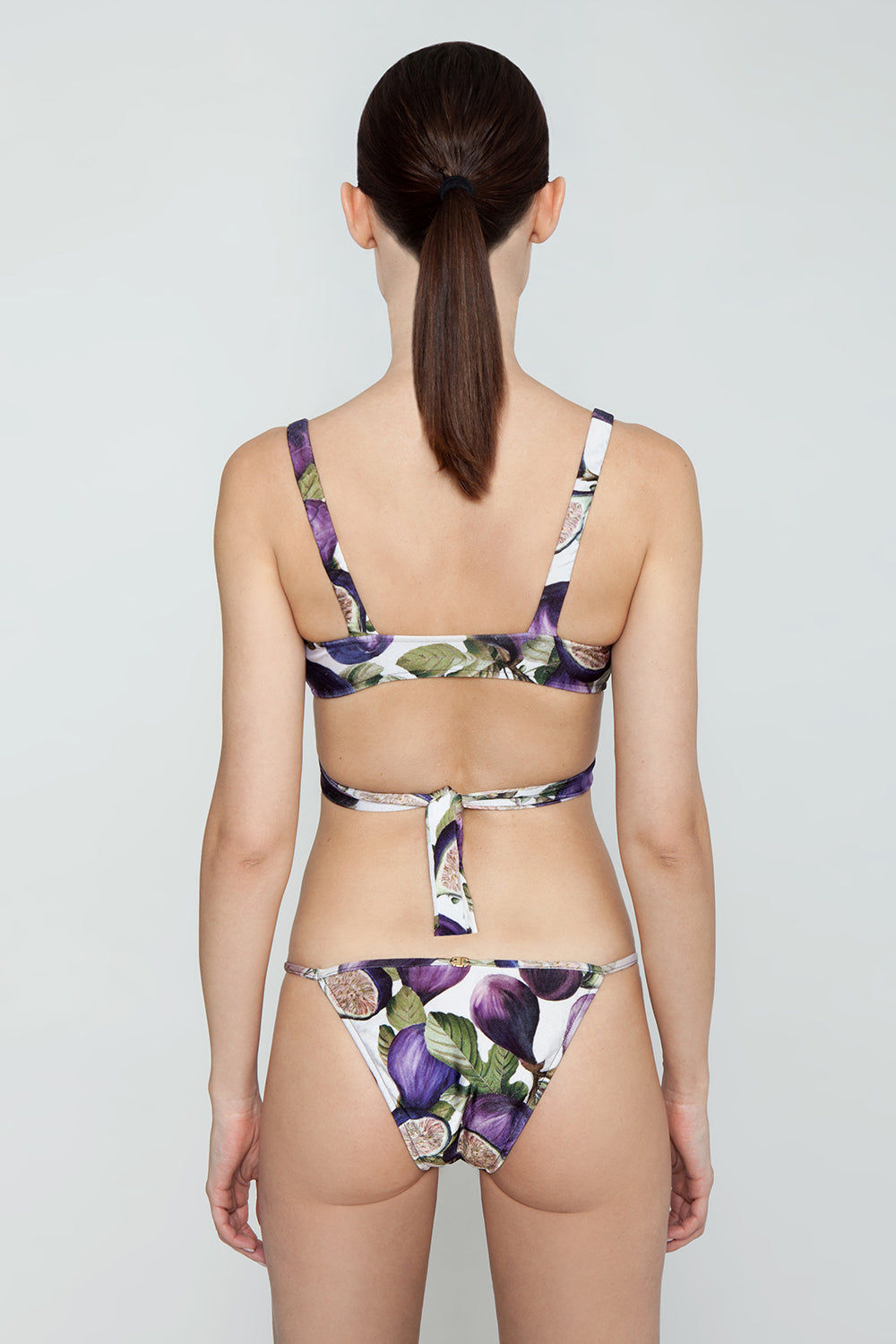 ADRIANA DEGREAS Thin Strap Bikini Bottom - Fig Purple Print Bikini Bottom | Fig Purple Print| Adriana Degreas String Bikini Bottom - Fig Purple Print String thin straps Low rise Cheeky coverage Back View
