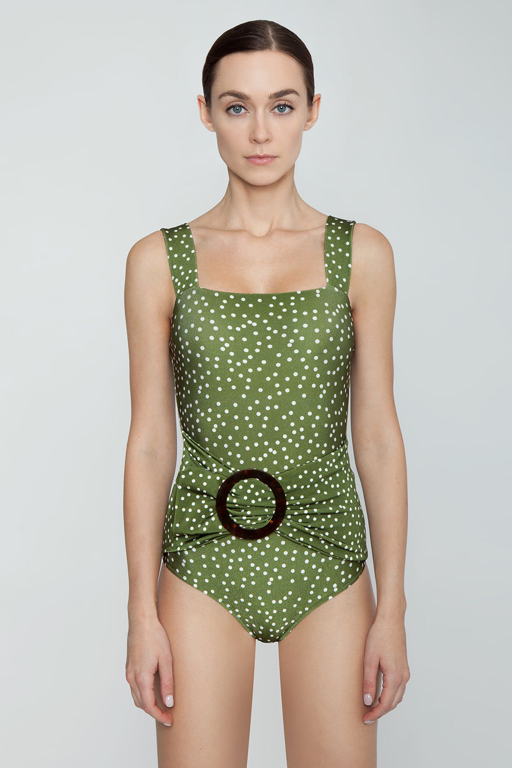 ADRIANA DEGREAS Square Neck Hoop Buckle One Piece Swimsuit - Mille Punti Army Green Polka Dot Print One Piece | Mille Punti Army Green Polka Dot Print| Adriana Degreas Hoop One Piece Swimsuit - Mille Punti Green Dot Print Square neckline Thick shoulder straps  Twisted bodice  Tortoise hoop detail  Moderate-full coverage  Front View