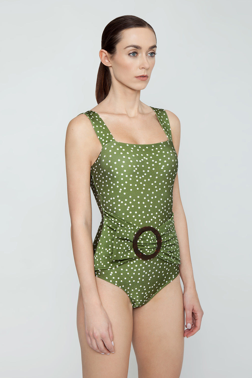 ADRIANA DEGREAS Square Neck Hoop Buckle One Piece Swimsuit - Mille Punti Army Green Polka Dot Print One Piece | Mille Punti Army Green Polka Dot Print| Adriana Degreas Hoop One Piece Swimsuit - Mille Punti Green Dot Print Square neckline Thick shoulder straps  Twisted bodice  Tortoise hoop detail  Moderate-full coverage  Side View