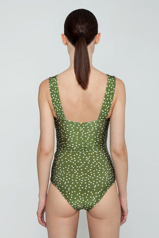 ADRIANA DEGREAS Square Neck Hoop Buckle One Piece Swimsuit - Mille Punti Army Green Polka Dot Print One Piece | Mille Punti Army Green Polka Dot Print| Adriana Degreas Hoop One Piece Swimsuit - Mille Punti Green Dot Print Square neckline Thick shoulder straps  Twisted bodice  Tortoise hoop detail  Moderate-full coverage  Back View