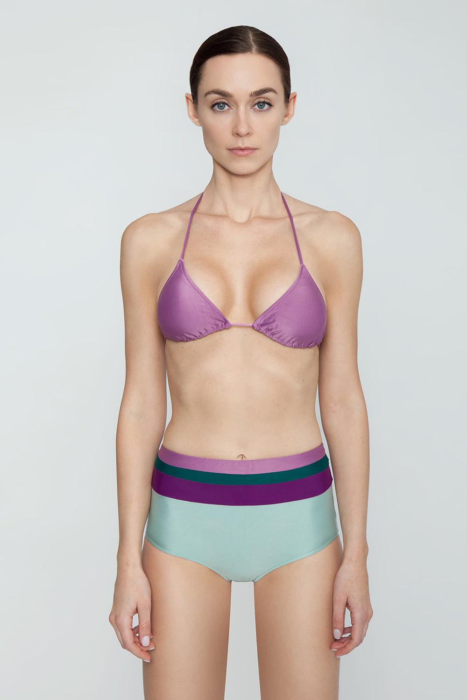 ADRIANA DEGREAS Halter Triangle Bikini Top - Lilac Purple Bikini Top | Lilac Purple| Adriana Degreas Triangle Tie Bikini Top - Lilac Purple. Features:  Classic triangle top bikini Adjustable halter neck ties Main: 84% polyamide, 16% spandex Front View