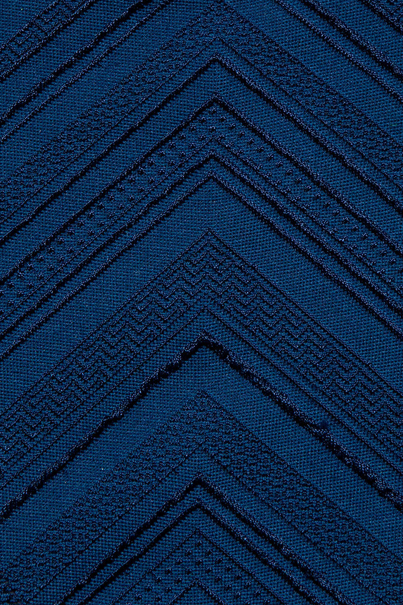 AMUSE SOCIETY Dillyn Skimpy Bikini Bottom - Oxford Blue Chevron Print Bikini Bottom | Oxford Blue| Amuse Society Dillyn Skimpy Bikini Bottom - Oxford Blue Chevron Print Hipster skimpy bikini bottom in textured oxford blue. These bottoms are made in a dark blue textured chevron fabric with an all over zigzag stitch.  Detail View