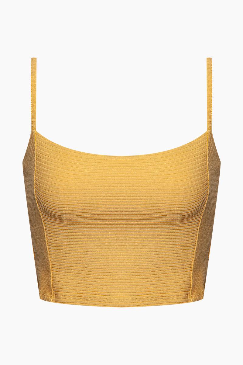 AMUSE SOCIETY Baila Knit Crop Top - Sunray Yellow Top | Sunray Yellow| Amuse Society Bailia Knit Crop Top - Sunray Yellow Crop top in sunray yellow  Thin spaghetti straps  Front View