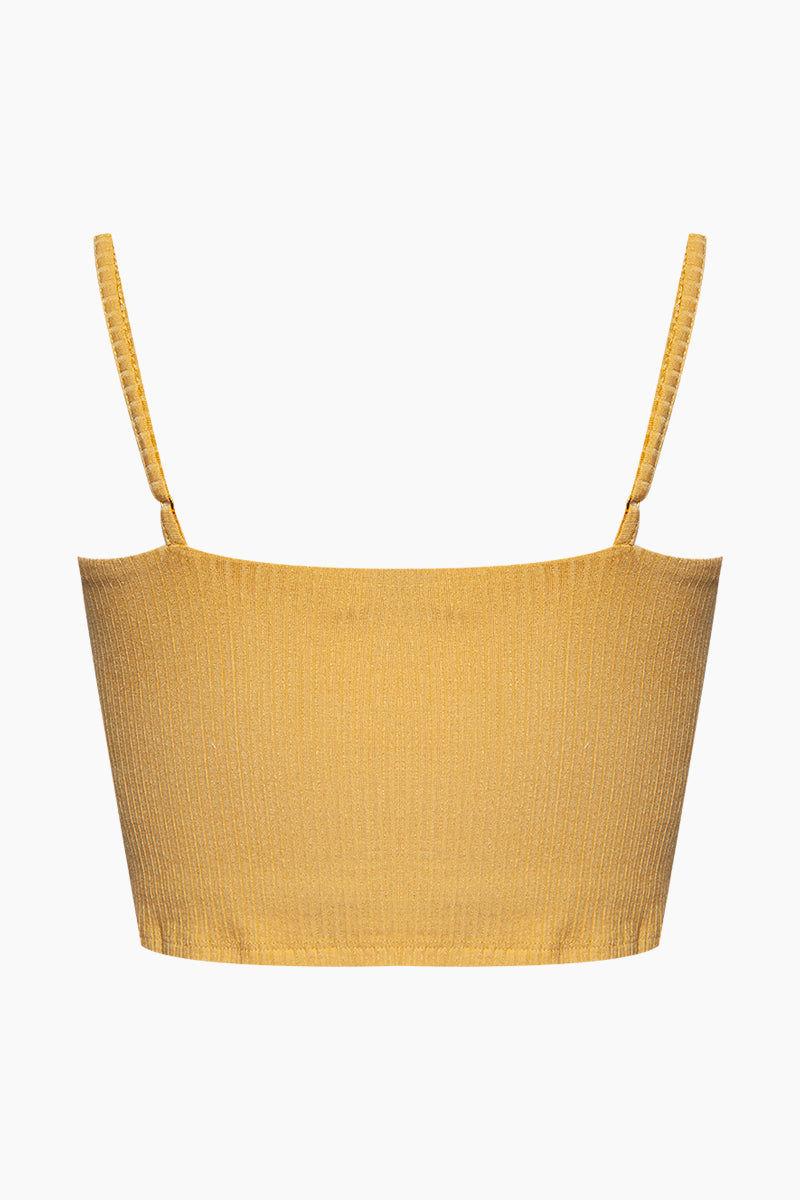 AMUSE SOCIETY Baila Knit Crop Top - Sunray Yellow Top | Sunray Yellow| Amuse Society Bailia Knit Crop Top - Sunray Yellow Crop top in sunray yellow  Thin spaghetti straps  Back View