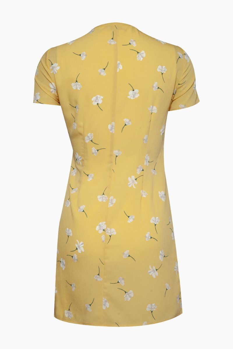 AMUSE SOCIETY Elena Short Sleeve Wrap Mini Dress - Sunray Yellow Floral Print Dress | Sunray Yellow Floral Print| Amuse Society Elena Short Sleeve Wrap Mini Dress - Sunray Yellow Floral Print  Walk through the euro streets with the Elena Dress featuring a wrap tie front and delicate flower print. Back View
