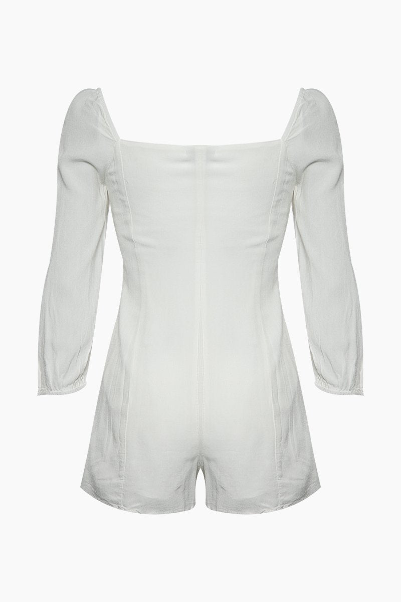 AMUSE SOCIETY Liliana Button Front Romper - Casa Blanca White Romper | Casa Blanca White| Amuse Society Liliana Button Front Romper - Casa Blanca White Romper in white Sweetheart neckline Front button closure  3/4 sleeves Back View