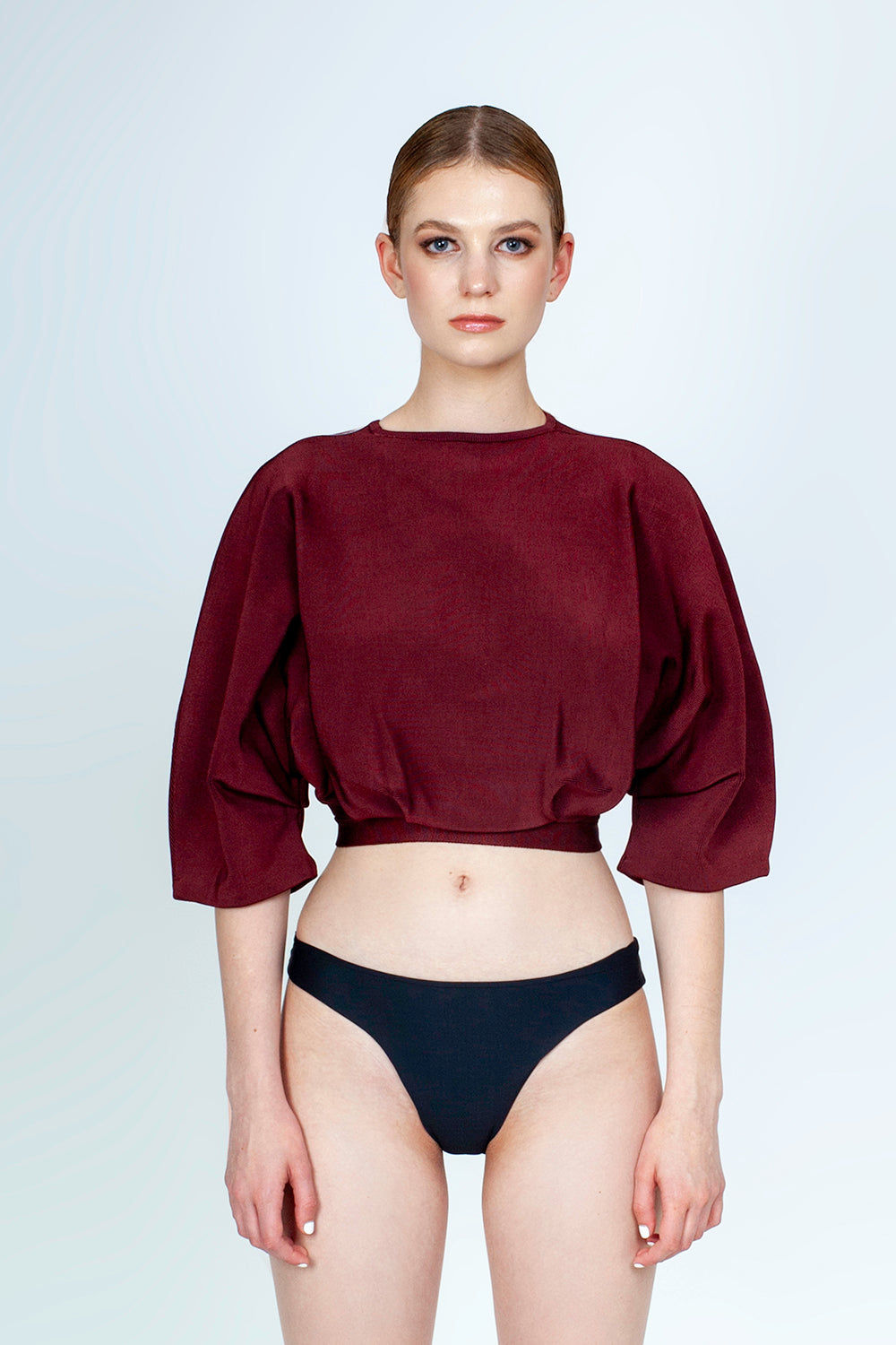 HAIGHT Inner Pleated Knit Top - Garnet Red Top | Garnet Red| Haight Inner Pleated Knit Bikini Top - Garnet Red Features:  Crew neckline  Sleeves to elbow length Pleated detail Front View