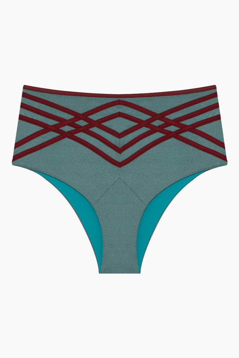PANAREA Desiree High Waisted Retro Bikini Bottom - Camaleonte/Seventy's Bikini Bottom | Camaleonte/Seventy's| Desiree Bikini Bottom - Aqua/Burgundy Front View