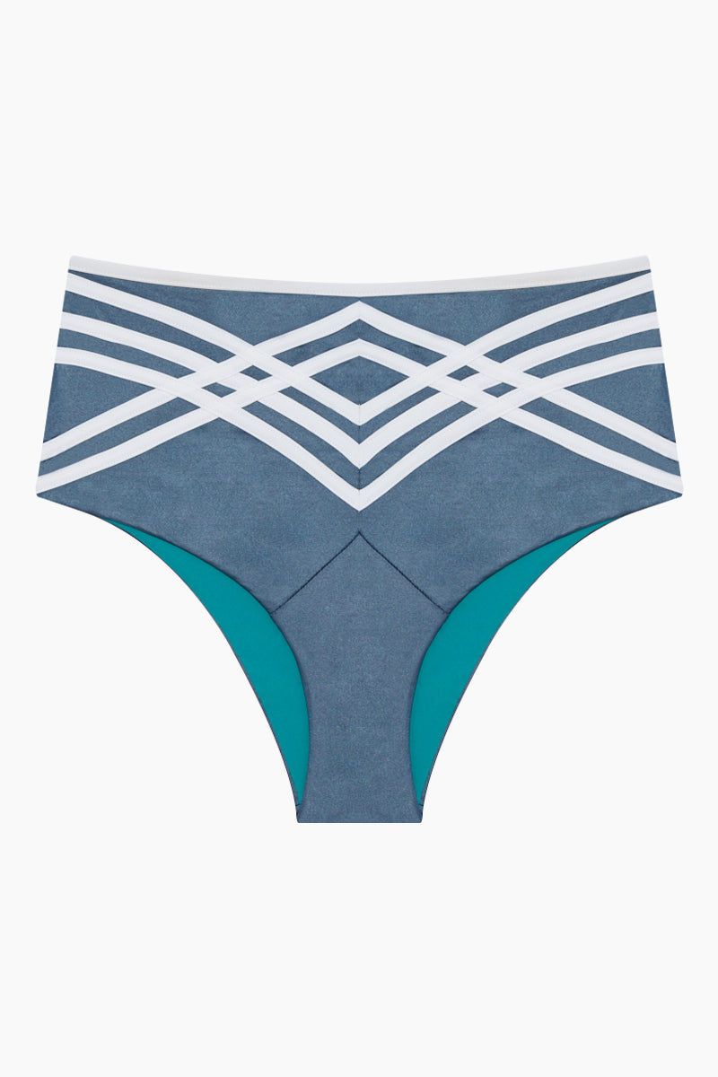 PANAREA Desiree High Waisted Retro Bikini Bottom - London Eye/Bianco Bikini Bottom | London Eye/Bianco| Panarea Desiree Bikini Bottom - Slate Blue/White Front View