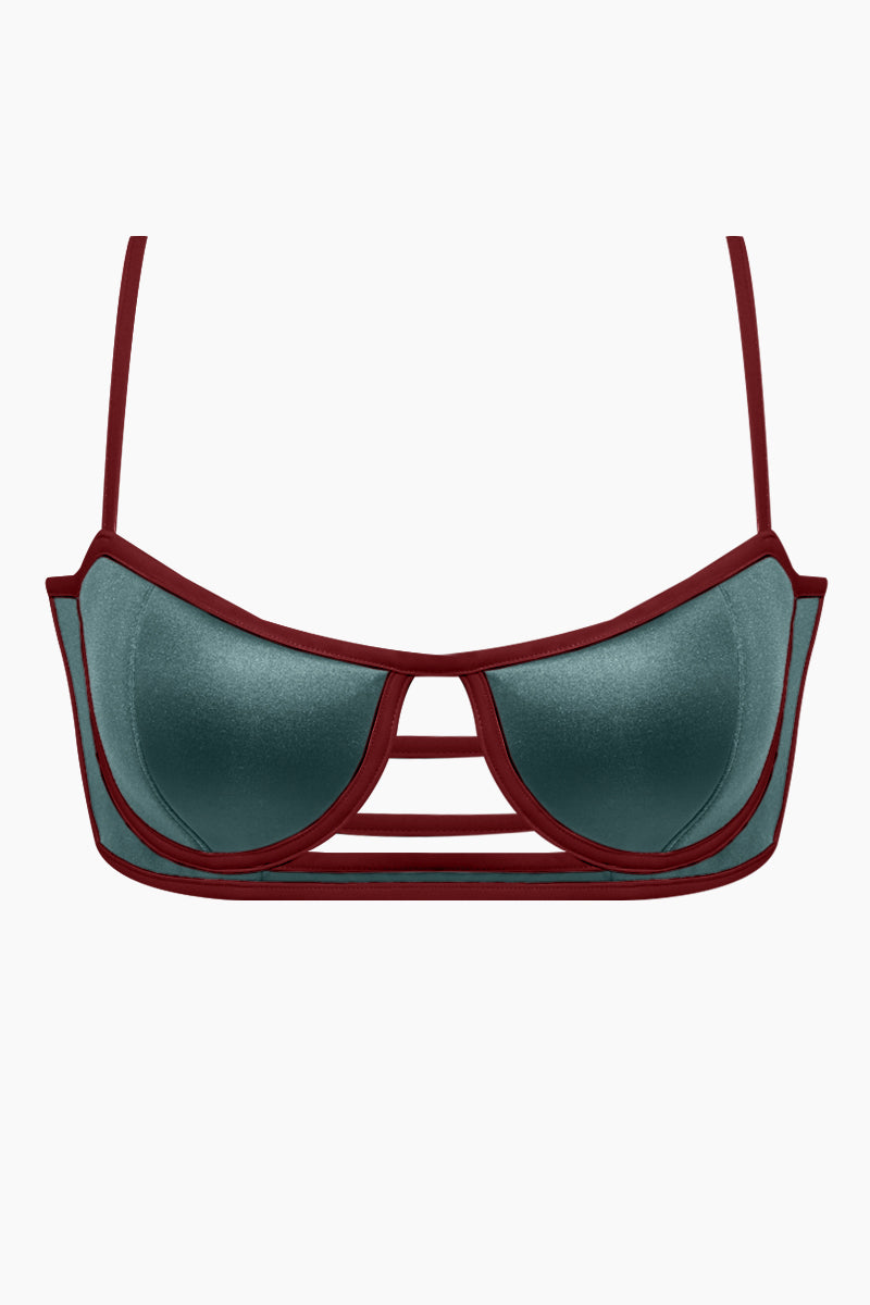 PANAREA Desiree Balconette Strappy Caged Cut Out Bikini Top - Camaleonte Blue/Seventy's Red Bikini Top | Camaleonte Blue/Seventy's Red| Desiree Balconette Strappy Caged Cut Out Bikini Top - Camaleonte Blue/Seventy's Red Front View