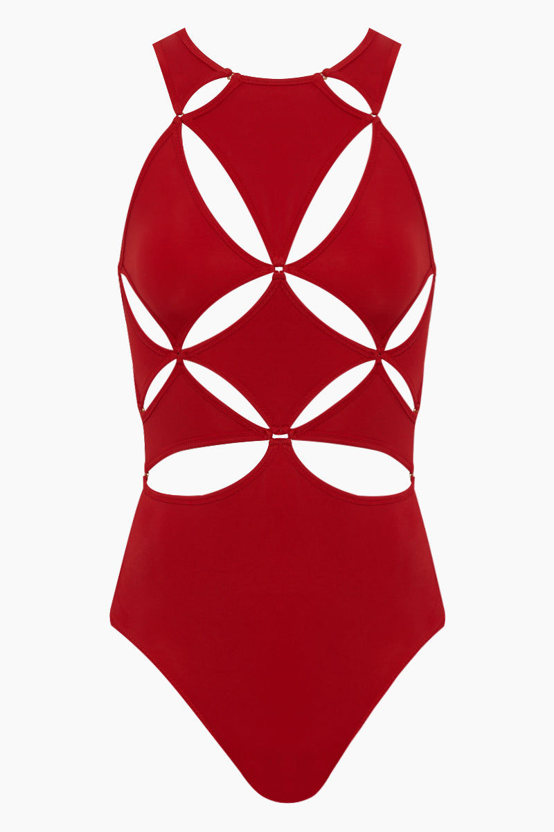 12cbe2e65705e OYE SWIMWEAR Diamond Cut Outs One Piece Swimsuit - Poppy Red One Piece |  Poppy Red ...