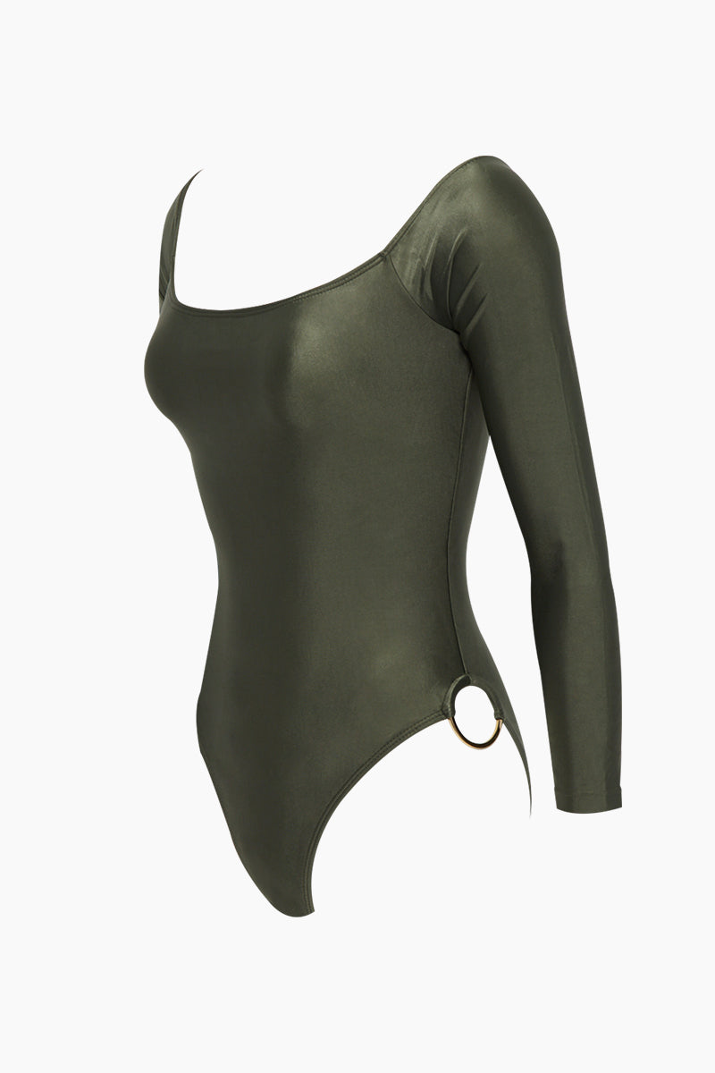 AGUA DE COCO Brazilian Off Shoulder Side Detail One Piece Swimsuit - Olive Green One Piece | Olive Green| Agua De Coco Brazilian Off Shoulder Side Detail One Piece Swimsuit - Olive GreenOlive green one piece Off shoulder  Long sleeves  Side ring hardware detail  Cheeky - moderate coverage Side View