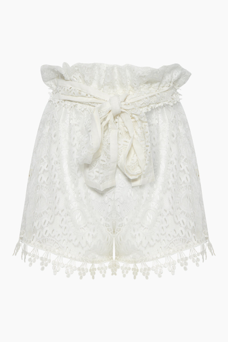 WAIMARI Cindy Lace Belted High Waist Shorts - Ivory White Shorts | Ivory White| Waimari Cindy Lace Belted High Waist Shorts - Ivory White High waisted shorts  All over lace detail Front View