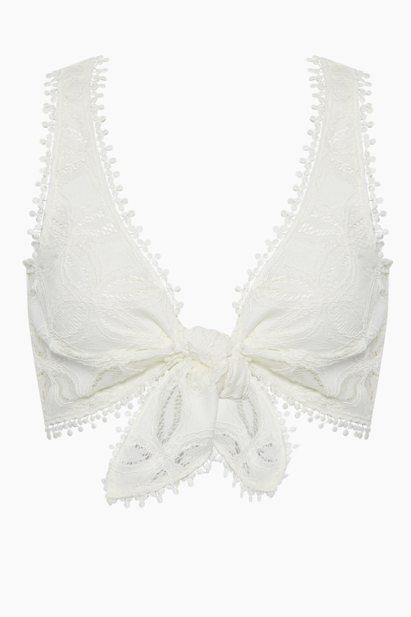 WAIMARI Cindy Lace Front Tie Crop Top - White Top | White| Waimari Cindy Lace Front Tie Crop Top - White V neckline  Front tie detail  Thick shoulder straps All over lace detail  Front View