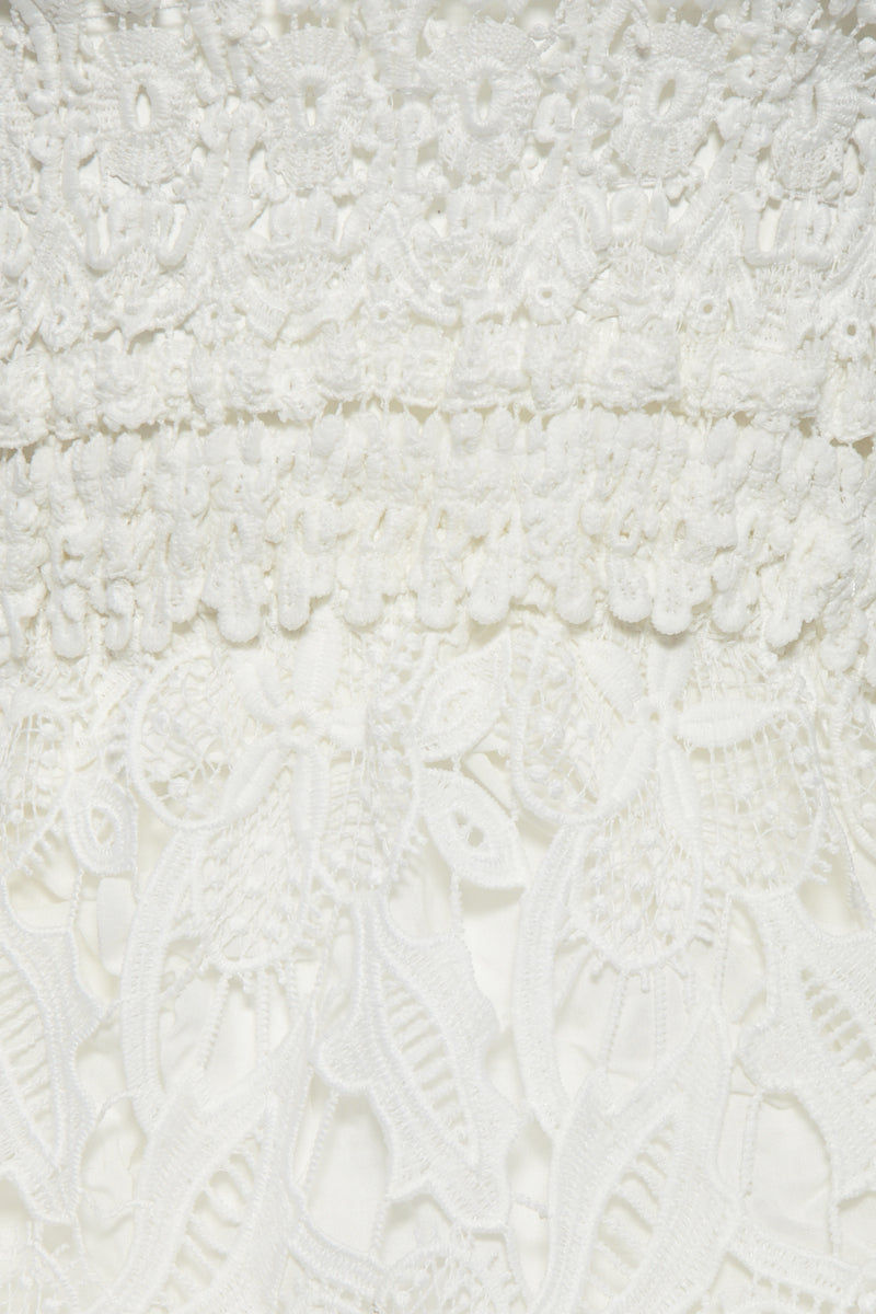WAIMARI Vallarta Guipure Lace Strapless Mini Dress - White Dress | White| Vallarta Guipure Lace Strapless Mini Dress - White Strapless mini dress  Guipure lace detail Light crochet cut out detail along bodice 100% lace Front View
