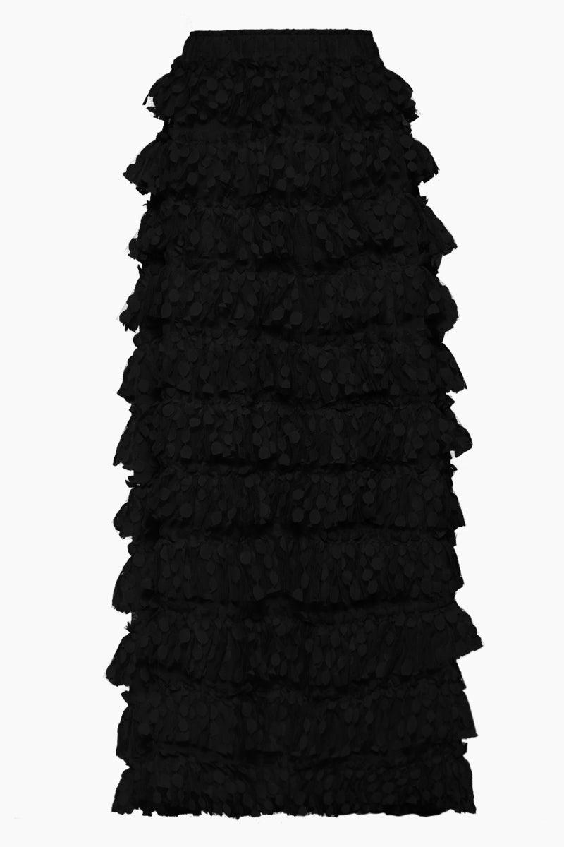 WAIMARI Linda Spot Net Ruffle Long Skirt - Black Skirt | Black| Waimari Linda Spot Net Ruffle Long Skirt - Black Maxi skirt  High waisted  Ruffle tier detail with polka dot print Front View