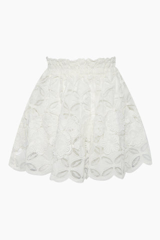 WAIMARI Carlotta Corded Lace Skirt - White Skirt | White| Waimari Carlotta Corded Lace Skirt - White High waisted mini skirt All over lace detail  Scalloped hemline  Front View