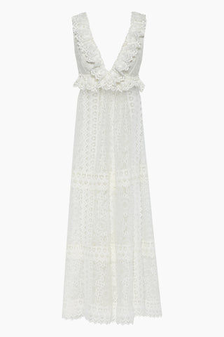 WAIMARI Chic Escape Sheer Lace Maxi Dress - Ivory White Dress | Ivory White| Waimari Chic Escape Sheer Lace Maxi Dress - Ivory White Maxi dress V neckline  criss cross back straps All over lace detail  Ruffle detail Front View
