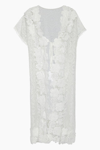 WAIMARI Carla Guipure Lace Cover-Up Kaftan Dress - Ivory White Cover Up | Ivory White| Waimari Carla Guipure Lace Cover-Up Kaftan Dress - Ivory White Floral lace cover up dress Slit sides  3/4 sleeves Front View