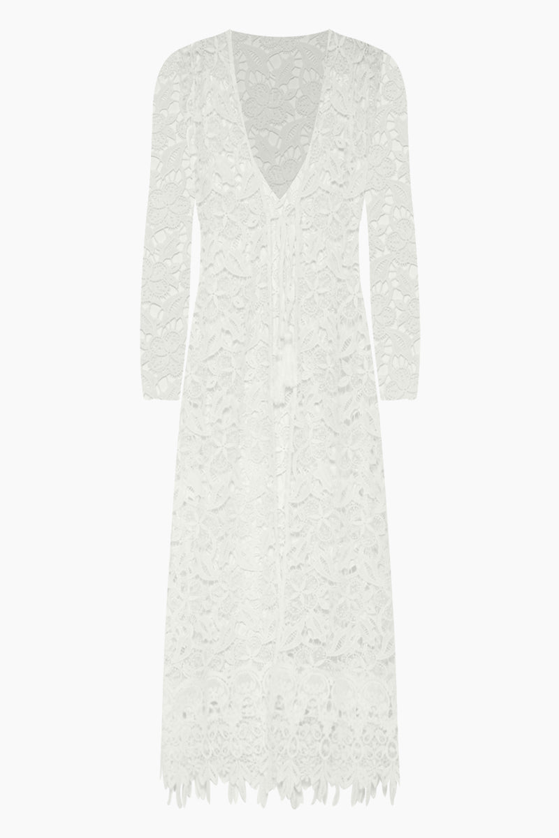 WAIMARI Fidji Guipure Lace Long Sleeve Kimono - White Cover Up   White  Waimari Fidji Guipure Lace Long Sleeve Kimono - White All lace kimono  V neckline  Tie front closure with tassel ends  Long sleeves Front View