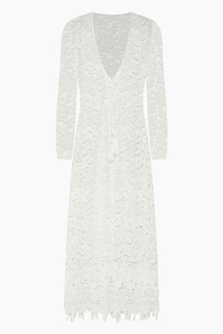 WAIMARI Fidji Guipure Lace Long Sleeve Kimono - White Cover Up | White| Waimari Fidji Guipure Lace Long Sleeve Kimono - White All lace kimono  V neckline  Tie front closure with tassel ends  Long sleeves Front View