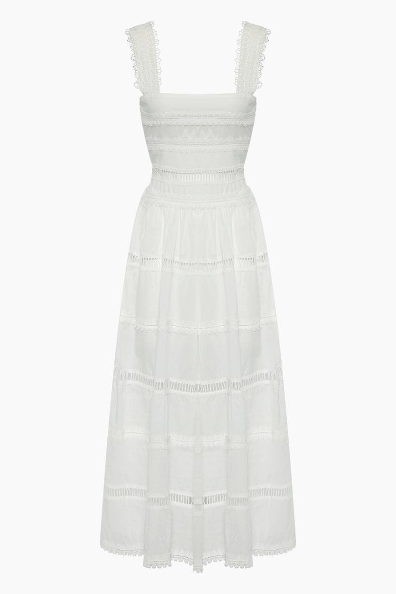WAIMARI Kate Lace Cotton Maxi Dress - White Dress | White| Waimari Kate Lace Cotton Maxi Dress - White Maxi dress Square neckline Thick lace shoulder straps  Crochet horizontal detail Front View