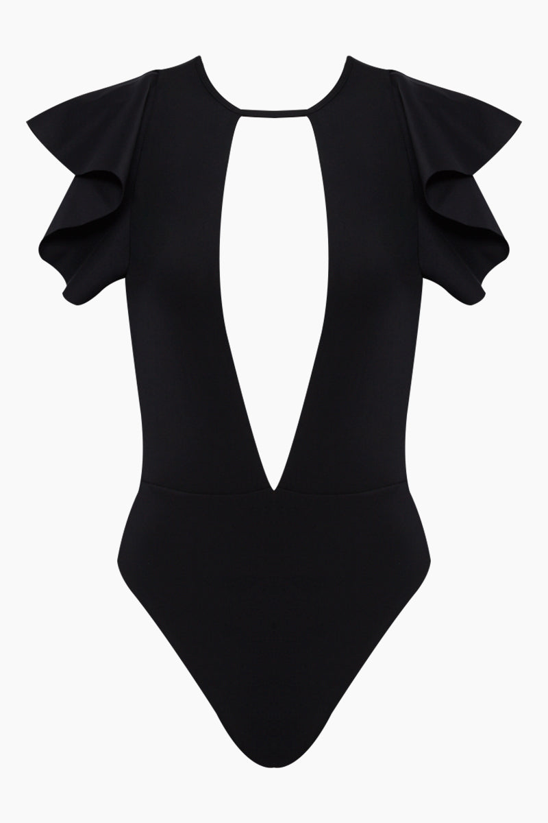 BOAMAR Barbara Ruffle Cheeky One Piece Swimsuit - Black One Piece | Black| Boamar Barbara Ruffle Cheeky One Piece - Black  Plunging V Neckline  Ruffle Shoulder Sleeves  Ties at Center Neck Open Back  High Cut Leg  Moderate Coverage Front View