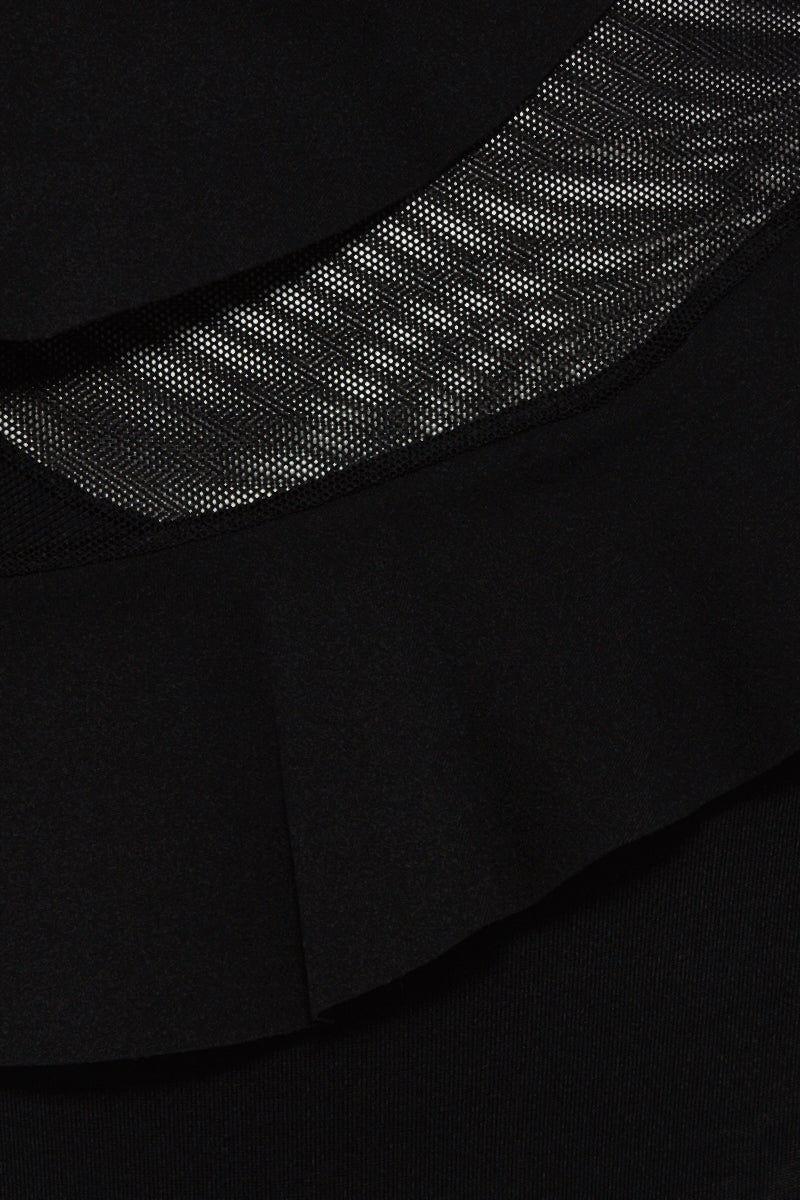 BOAMAR Zarina Ruffle High Waist Bikini Bottom - Black Bikini Bottom   Black  Boamar Zarina Ruffle High Waist Bottom - Black High Waist  Front Ruffled Asymmetric Detail  High Cut Leg  Moderate Coverage  Front View