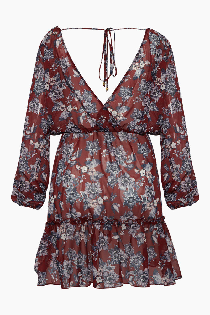 BOAMAR Boheme Long Sleeve V Neck Dress - Red Floral Print Dress | Red Floral Print | Boamar Boheme Long Sleeve V Neck Dress - Red Floral Print Long sleeve mini dress V neckline  Surplice bodice  Elasticized waist and cuffs  Back tie detail  Made in Colombia  Front View