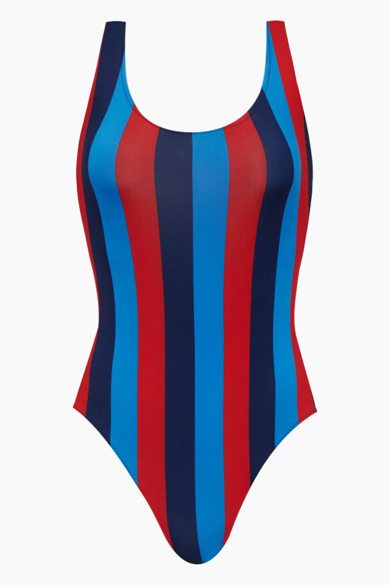 SOLID & STRIPED The Anne-Marie Classic One Piece Swimsuit - South Hamptons Red & Blue Stripe Print One Piece | South Hamptons Red & Blue Stripe Print| Solid & Striped The Anne-Marie Classic One Piece Swimsuit - South Hamptons Red & Blue Stripe Print Scoop neckline Low back High cut leg  moderate coverage Front View