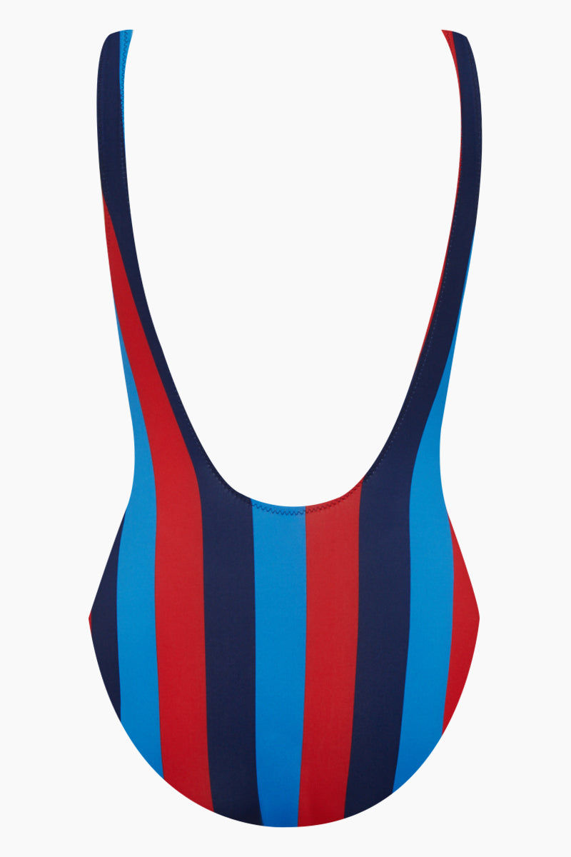 SOLID & STRIPED The Anne-Marie Classic One Piece Swimsuit - South Hamptons Red & Blue Stripe Print One Piece | South Hamptons Red & Blue Stripe Print| Solid & Striped The Anne-Marie Classic One Piece Swimsuit - South Hamptons Red & Blue Stripe Print Scoop neckline Low back High cut leg  moderate coverage Back View