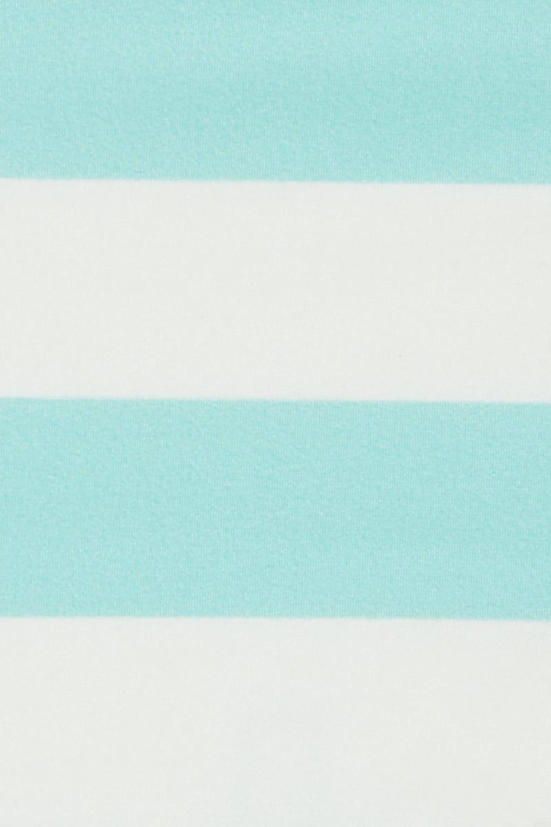 SOLID & STRIPED The Mia Skimpy Bikini Bottom - Aqua Cream Stripe Print Bikini Bottom   Aqua Cream Stripe Print  Solid & Striped The Mia Skimpy Bikini Bottom - Aqua Cream Stripe Thin Side straps low rise Skimpy coverage Front View
