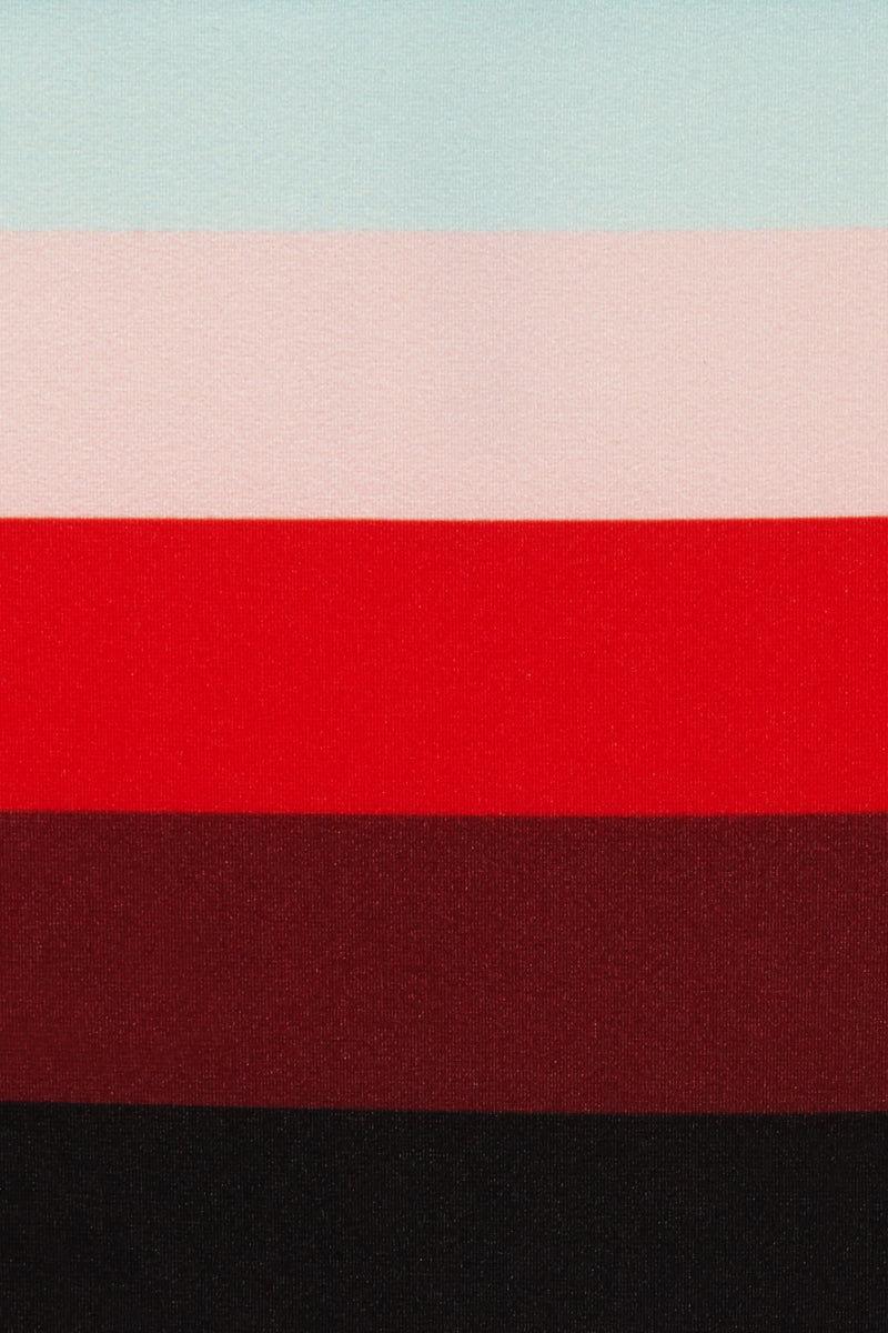 SOLID & STRIPED The Mia Skimpy Bikini Bottom - Paradise Stripe Print Bikini Bottom | Paradise Stripe Print | Solid & Striped The Mia Skimpy Bikini Bottom - Paradise Stripe Print Low-rise stretch bikini bottom in rainbow stripe print. Thin, stretchy side straps Skimpy coverage Front View