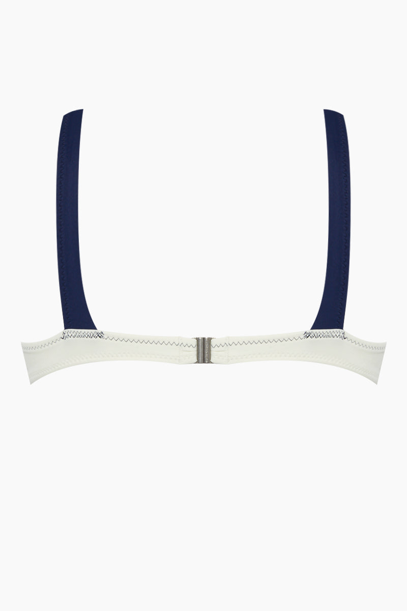 SOLID & STRIPED The Molly Square Bikini Top - Cream/Navy Bikini Top | Cream/Navy| Solid & Striped The Molly Square Bikini Top - Cream/Navy Sporty square neck cream colored bikini top with color-blocked navy blue detail. Thick straps and wide band give you low impact sports bra-level  Back View