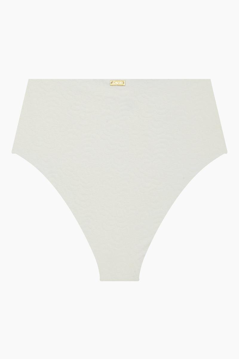 AMAIO SWIM Jolie High Waisted Bikini Bottom - Ivory Bikini Bottom | Ivory| Amaio Swim Jolie High Waisted Bikini Bottom - Ivory.  Features:  High waist bikini bottom  High cut leg  Moderate coverage  Luxe jacquard fabric Back View